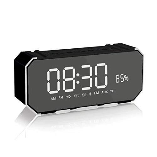 TIANYOU Smart Lautsprecher Mit Drahtloser Bluetooth-Lautsprecher Spiegeluhr-Lautsprecher Bluetooth 4.2 Handy-Temperatursteuerung Led Große Bildschirmanzeige Fm Radio-Lautsprecher sc