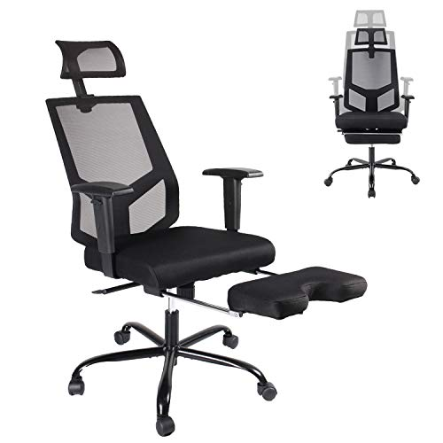 Office Chair Mesh Executive Chair Adjustable Armrest/Headrest Rotating Chair with Footrest Lounge Chair