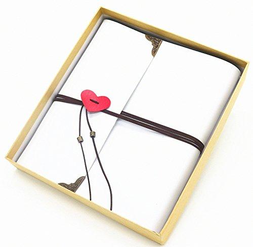 Smiling Art Fotoalbum zum selbst gestalten/basteln, zum einkleben, DIY Scrapbook, Deckblatt aus Leder als Stammbuch Gästebuch oder als Geschenk für Hochzeit Jahrestag Valentinstag (Weiß, Groß)