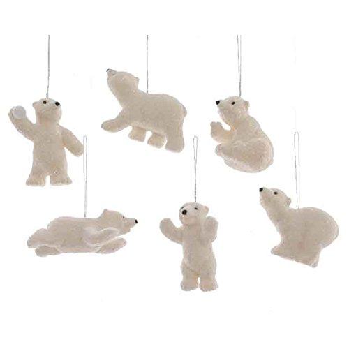 Izaneo - Lot de 6 ours de noel polaires pailletes blanc