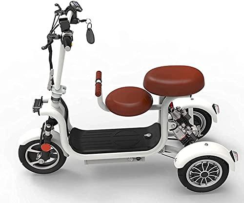 GKPLY Scooter de Movilidad de Viaje de 3 Ruedas, Scooter de Movilidad Scooter eléctrico para Adultos y niños, Patinetes de Movilidad eléctricos de Viaje Ligero, portátil y Recargable de 2 Asientos.