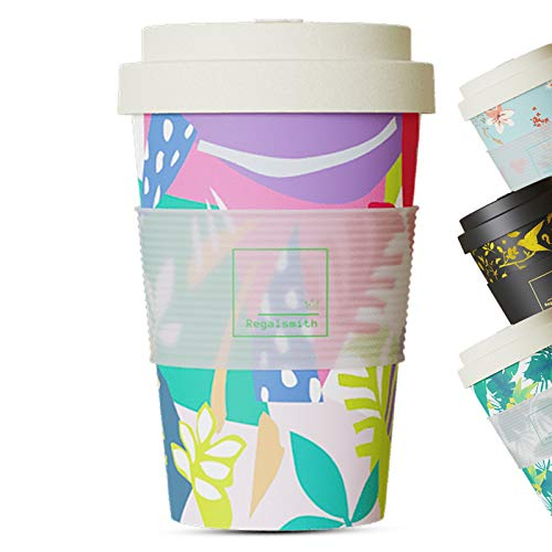 Regal Smith Bamboo Travel Mugs for Hot Drinks - Reusable Coffee Cups Travel Mug - Leakproof Lid Coffee Cup Coffee Mug - Eco Friendly Coffee Mugs Travel Cup - Multi Colour Pack of ONE