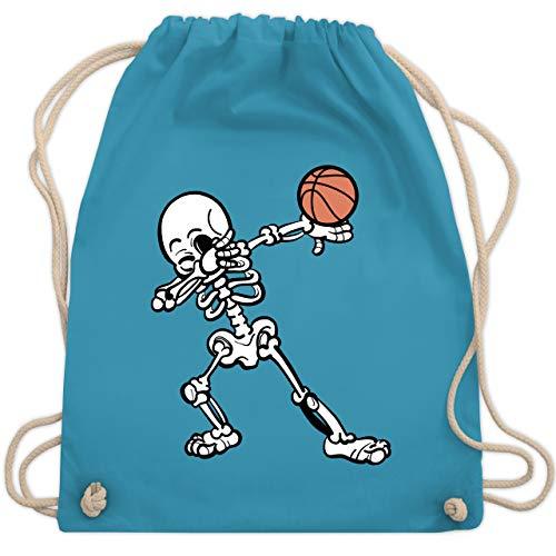 Shirtracer Basketball - Dabbendes Skelett mit Basketball - Unisize - Hellblau - Skelett - WM110 - Turnbeutel und Stoffbeutel aus Baumwolle