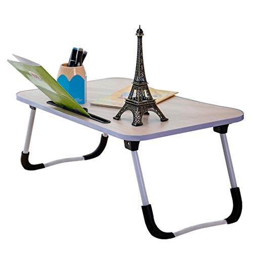 Laptop Bed Table Lap Standing Desk with Foldable Legs and Cup Slot Notebook Stand Breakfast Bed Tray Book Holder (Color : Wood grain color)