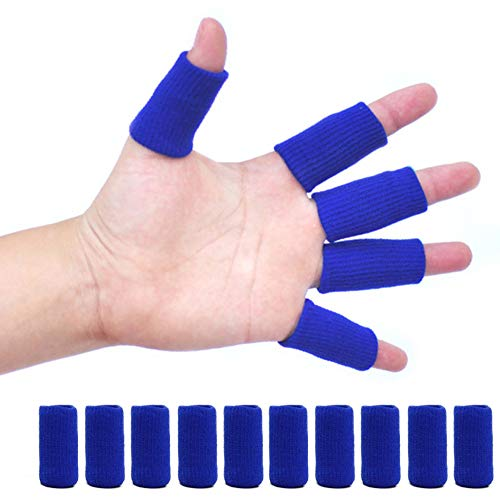 shttown 指サポーター ばね指 ヘバーデン結節 固定 指関節 ガード 突き指 腱鞘炎 簡単脱着 10本 セット (青)