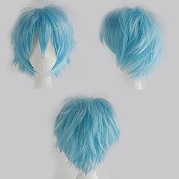 S-noilite Women Men Cosplay Hair Wig Short Straight Anime Party Dress Fluffy Costume Full Wigs Light Blue