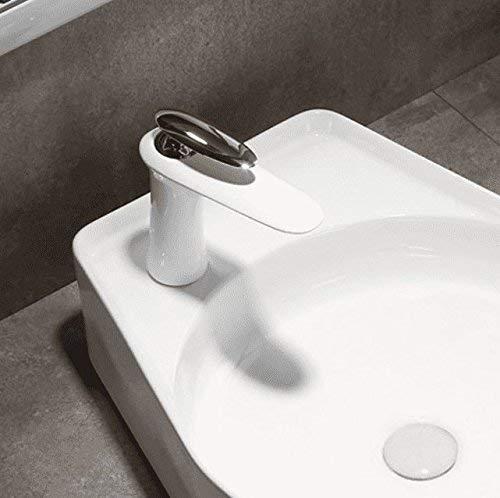 Witte tafel, Spoelkraan, hoge spoelbak voor schilderijen, Wastafel, Badkamerkast, Alle warme en koude koperen producten, wit verchroomd laag vierkant Ronde laag chroom wit