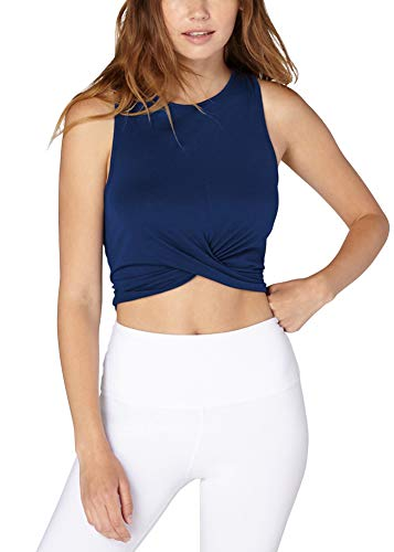 Bestisun Basic Sleeveless Racerback High Neck Crop Tank Tops Sports Crop Tops Casual Solid Shirts Gym Clothing for Women Lady Girls Navy Blue L