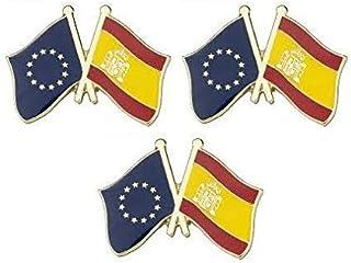 Juego de 3 x distintivos metálicos de Bandera de España y la Unión Europea. 25mm x 16mm