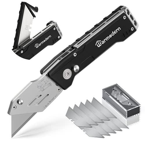 Warmodern Cuttermesser, Teppichmesser Profi, Professional Universalmesser, Universal Klappmesser mit Gürtelclip und Safety-Lock-Design, Aufbewahrung im Griff mit 10...