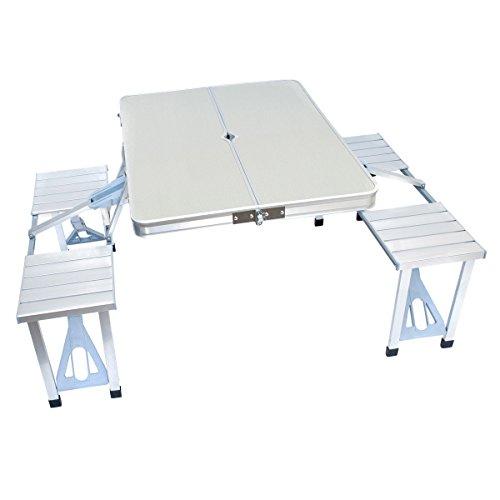 In alluminio pieghevole con seduta panche set per campeggio - portatile tavolo-bank-set per 4 persone con tavolo birra set