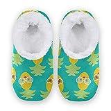 linomo Lindas zapatillas con patrón de piña para mujer, pantuflas de casa para mujer, zapatos de casa, zapatos de dormitorio, calcetines, color Multicolor, talla 36/37 EU