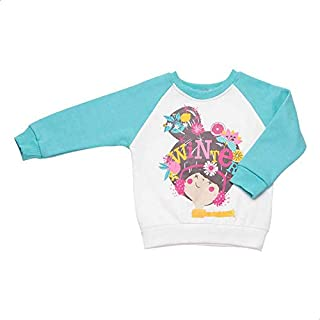 Carrot Crew-Neck Raglan-Sleeve Printed Sweatshirt for Girls - Turquoise and White