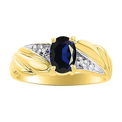 Juego de anillos de diamante y zafiro en oro amarillo de 14 quilates con piedra natal