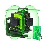 Huepar GF360G 3x360 Nivel Láser Verde 45m,MODO DE PULSO, Batería de Litio Recargable USB, 3D Láseres de 12 Líneas, Autonivelador Línea Cruzado, Conmutables 360 Vertical/Horizontal, 360 Base Magnético