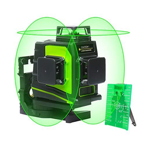 Huepar 3x 360 Nivel Láser Verde 45m con MODO DE PULSO, Batería de Litio Recargable USB, 3D Láseres de 12 Líneas Autonivelador Línea Cruzadas, 360 Vertical/Horizontal, con Base Magnético, GF360G