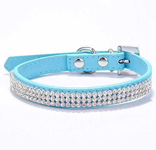 haoyueer Collar de piel sintética con diamantes de imitación para mascotas, gatos, perros, cachorros, etc. (M, azul)