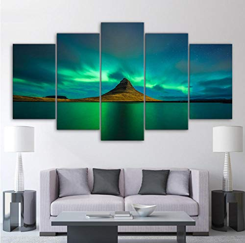 VIccc Eindruck Landscape Decoration HD Printed Modern Wall Art Painting On Canvas 5 Piece/Pcs Iceland Aurora Modular Picture Home Decor Posters Frame Living Room Animal Decoration KTV Dekoration