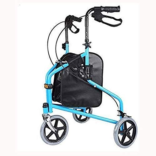HWZLOIK Silla de Ruedas, Tercera Edad Avanzada Carro de Compras Walker Comprar Alimentos Coche Ruta Plegable Conveniente de ciclomotores de Tres Ruedas, Azul