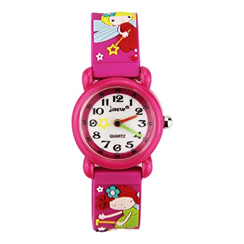 BESPORTBLE 3D Cartoon Uhr Nette Fee Kinder Quarzuhr Silikonkautschukband Armbanduhr Student Zeit Uhr Armbanduhr für Jungen Mädchen (Rosy)