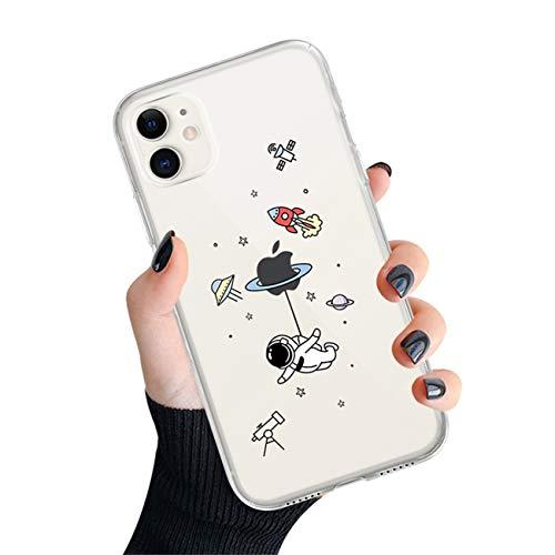 Bakicey Hülle für iPhone 12 Pro Max Transparent Cartoon Astronaut Muster [Stoßfest] Weiche Silikon Schutzhülle Kratzfest TPU Bumper handyhülle Durchsichtige Case Cover für iPhone 12 Pro Max, D