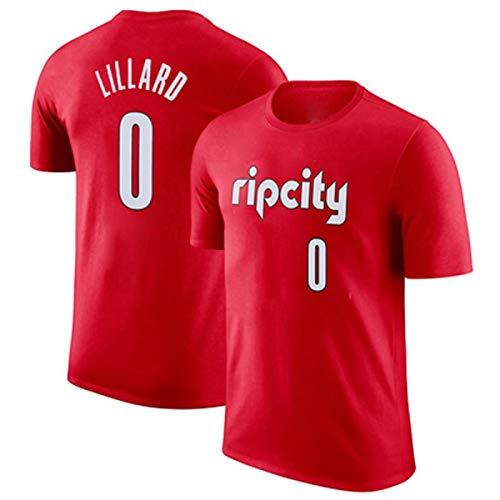 Zxwzzz Camiseta De Manga Corta De Baloncesto De La NBA Pioneros Lillard 0 McCollum 3 Apariencia Jersey Hombres De Verano (Color : Red 2, Size : Small)