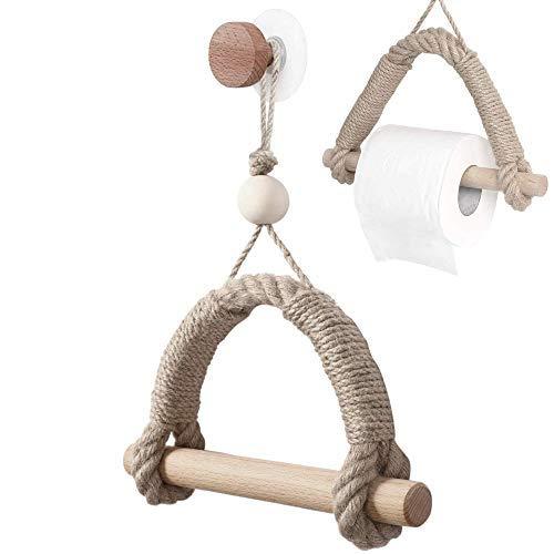 qipuneky Soporte de Papel Higiénico de Cuerda de Cáñamo, Soporte de Papel Higiénico para Baño, Montado en la Pared, para Baño o Cocina (Hilo de madera)