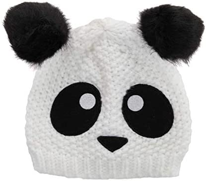 elope Panda Bear Chunky Knit Beanie Hat with Pom Ears for Adult and Kids Blackwhite product image