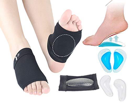 Plantarfasziitis-Ärmel Schuheinlagen für flache Füße, Gel-Fußgewölbestütze mit gepolsterten Kissen zur Schmerzlinderung und -behandlung bei Plantarfasziitis, Fersensporn- und Therapiewickel, 3 Paar