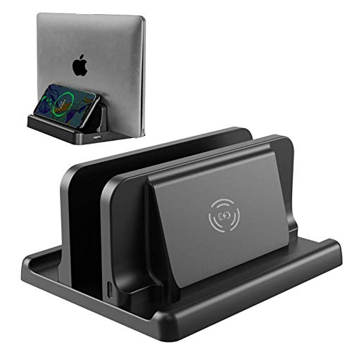 Vaydeer Vertical Laptop Stand with Wireless Charger Adjustable Slot 3-in-1 Design Space-Saving Notebook Dock Station Laptop Holder for MacBook Pro Air, Mac,up to 17.3 inches (Black)