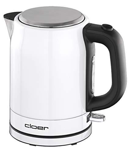 Cloer 4511 Wasserkocher Edelstahl, 2200 W, Wasserstandsanzeige, Trockengeh- und Überhitzungsschutz, 1 Liter, Weiß