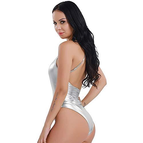 Miya Damen Body Stringbody Wetlook Metallic Badeanzug Bademode Zwei Stück Rückenfreie Schwimmanzug Silber,S