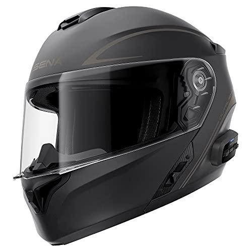 Sena Outrush R Bluetooth Modular Motorcycle Helmet with Intercom System (Matte Black, Small)