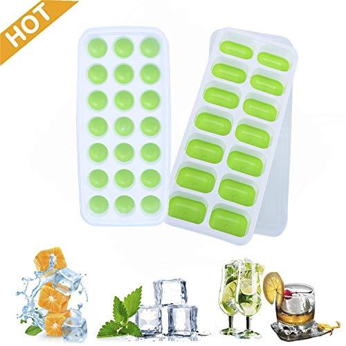 Iindes Silikon-Eiswürfelschale, 2er-Pack Eiswürfelformen LFGB-zertifizierte und BPA-freie Silikon-Eiswürfelschalen mit Nicht verschüttetem Deckel