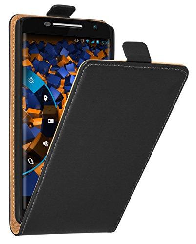 mumbi Tasche Flip Case kompatibel mit Motorola Moto X Play Hülle Handytasche Case Wallet, schwarz