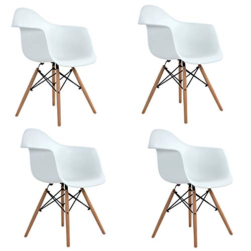 Ihouse HOMY CASA Set of 4 Mid Back Dining Chairs Kitchen Chairs Set with Wood Assembled Legs Armrest for Living Room,Patio,Home,Office (White)