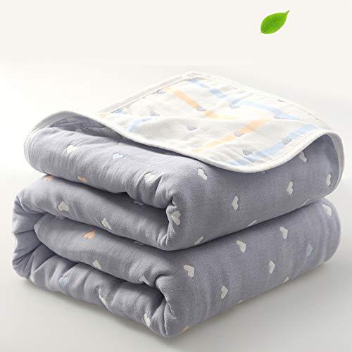 lilili 100% Reine Baumwolle - Extra Weiche Decke Für Sofa,Sechs-Schicht Handtuch Baumwolle Gaze Quilt Babydecken Nap Decke Bettüberwürfe,F-90 * 100cm