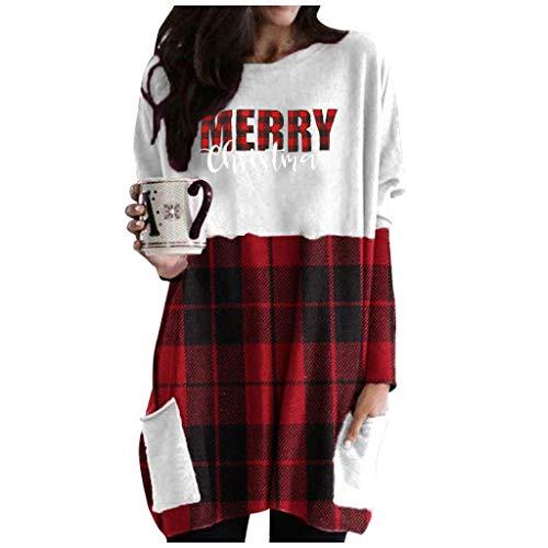 Dosoop Women Christmas Reindeer Faceless Doll Long Sleeve Tops Crewneck Pullover Sweater Tee T-Shirt Tunics with Pockets