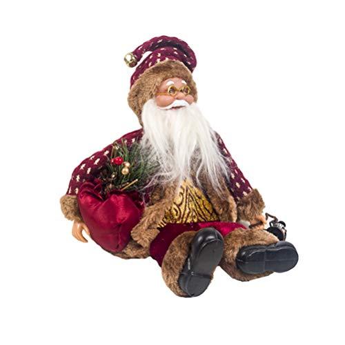 Happyyami Weihnachtsmann-Puppe-Weihnachten Ornament Dekoration Weihnachten Tisch Weihnachtsmann-Figur sitzt (rot)