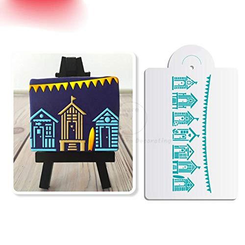 DACCU Set van 7 koekjes voor het schilderen van cupcake, de gereedschappen fondant kunststof stencil taart stencil gebak werktuigen cakevorm bakkerij, kleur: 1 stuks