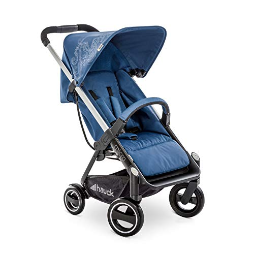 Hauck Micro silla de paseo compacta hasta 18 kg, con respaldo reglable, plegable, ligera, manillar regulable en altura, luces reflectantes, Star Denim (azul)