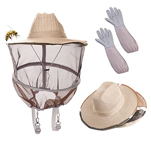 Sunflower 2 in 1 Beekeeper Beekeeping Protection hat and Veil with Gloves(Bee Round Veil Hood...