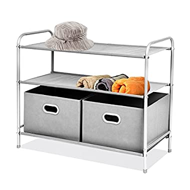 MaidMAX 3 Tiers Closet Shelf Organizer with 2 Drawers for Home Storage and Organization, Silver Grey