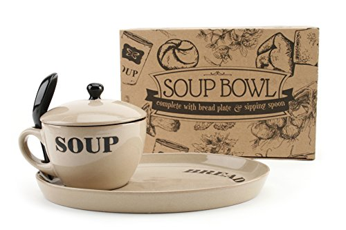 Soup Bowl Dish with Bread Serving Plate and Spoon Set | Cream Country Cottage Kitchen Rustic Style | Microwave and Dishwasher Safe | Individually Gift Boxed