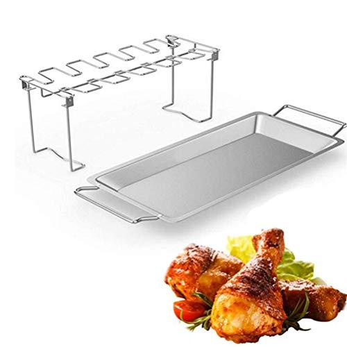 Flybloom Edelstahl Hähnchenschenkel Wing Rack mit Tablett Faltbare Hähnchenschenkel Grill Rack Chicken Drumstick Roaster für Backofen Grill