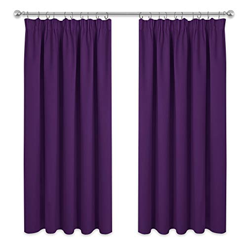 PONY DANCE Blickdichte Vorhänge Violett - Gardinen Verdunklungsvorhang mit Kräuselband Dekoschals für Wohnzimmer Schlafzimmer Gardine, 2 Stücke 182 x 117 cm (H x B)