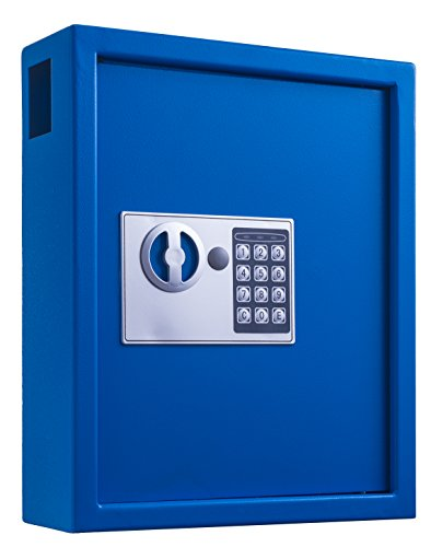 AdirOffice 40 Keys Cabinet with Digital Lock - Electronic Key Safe - Pin Code Keyless Storage Box for Keys - Secure Steel Lockbox - Scratch Resistant Powder Coated - Wall Anchor (Blue)