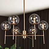 Dining Room Chandelier, Gold Globe Chandeliers, 6-Light Large Pendant Lighting with Globe Seeded Glass Shade for Living Room, Bedroom, 26' W x 29.5' H