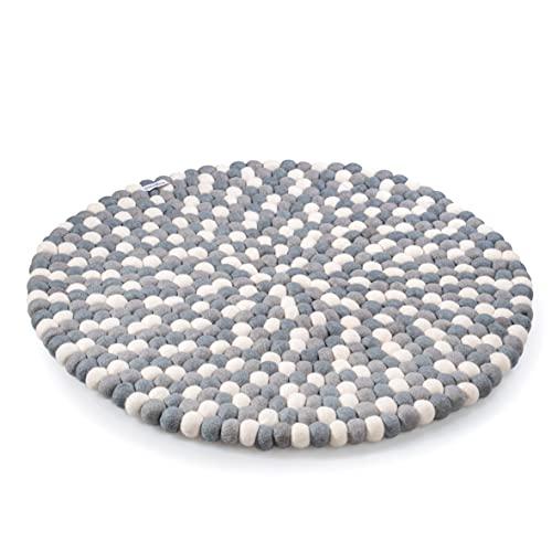 Filzkugelteppich aus 100% Filz handgemacht - Verspielter Teppich für das Kinderzimmer - Spielteppich rund 60cm Durchmesser (Grau)
