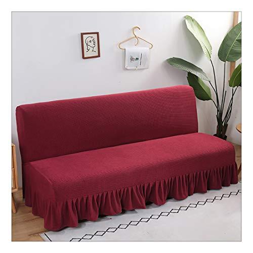 ZSFBIAO Fundas de Sofá Cama Sin Brazos Plegable Fundas de Clic-clac Elástica Cubre Sofa Cubierta para Sofa Cama con Falda-Rojo Cereza L (180-200cm)